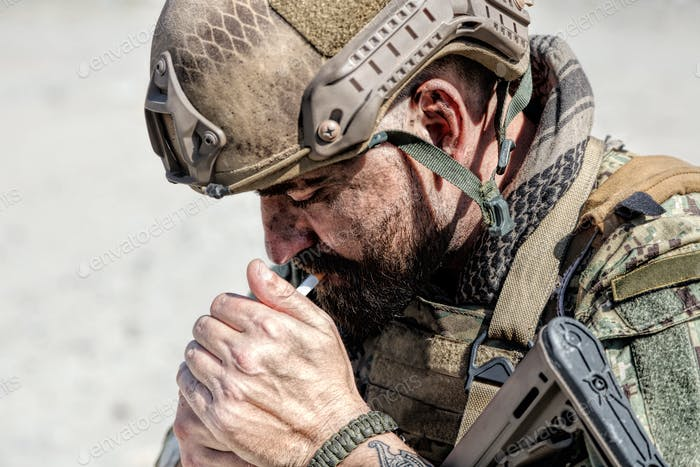Army soldier smoking