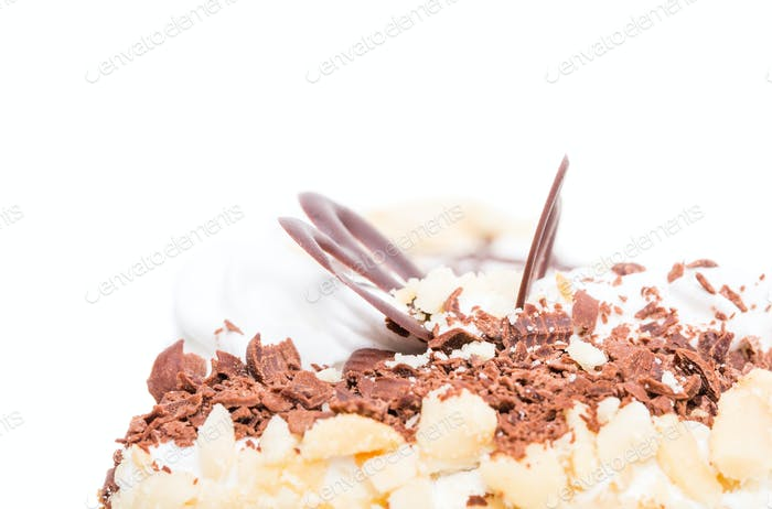 Delicious cake with chocolate and cream cheese.
