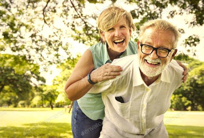 Cute senior couple in the park