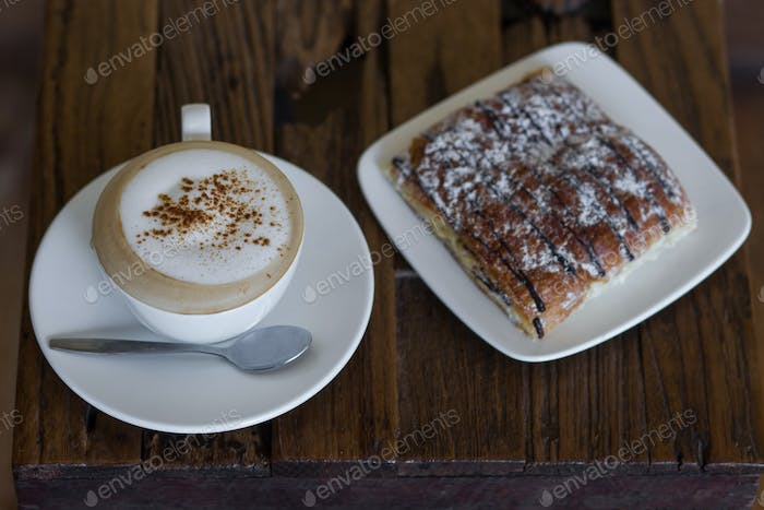 Coffee with chocolate croissant