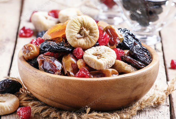 mix from dried fruits in bowl