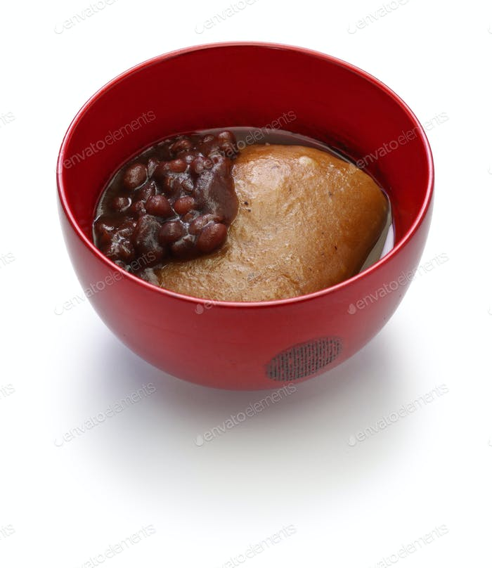 Tochi Mochi Zenzai, horse chestnuts rice cake with sweet simmered adzuki beans