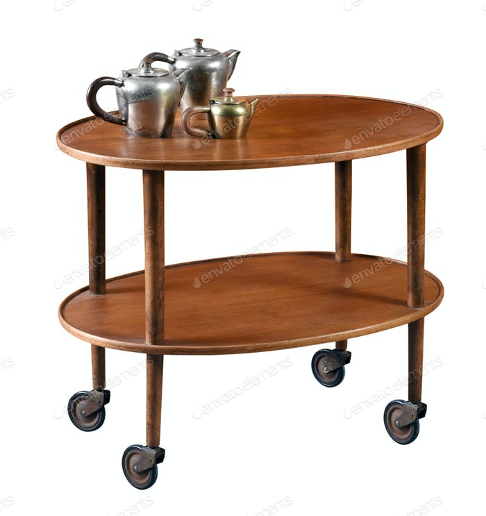 Oval mahogany serving cart on wheels