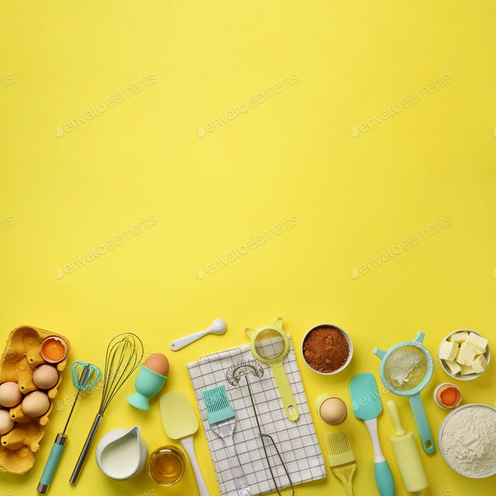 Square crop. Baking ingredients - butter, sugar, flour, eggs, oil, spoon, rolling pin, brush, whisk