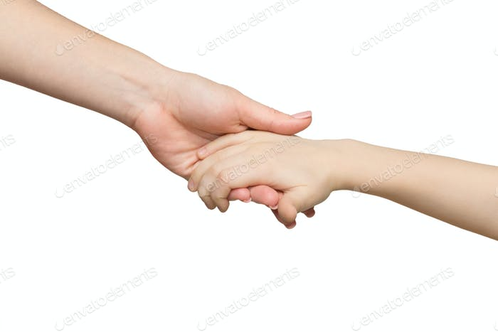 Mother holding hand of her child isolated