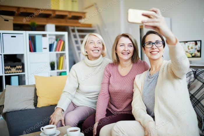 Three Women Taking Selfie