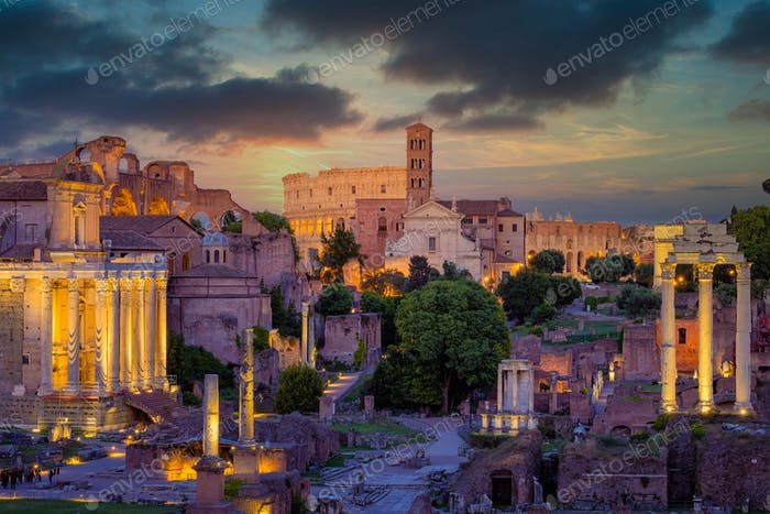 Forum Romanum and Colosseum in Rome with dramatic colorful sky
