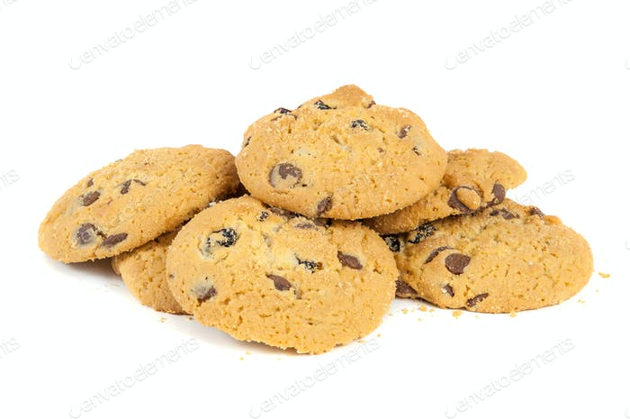 Chocolate chips cookies on white background