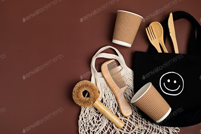 Eco friendly mug, brush,cutlery and cloth shopping bag. Zero waste sustainable lifestyle
