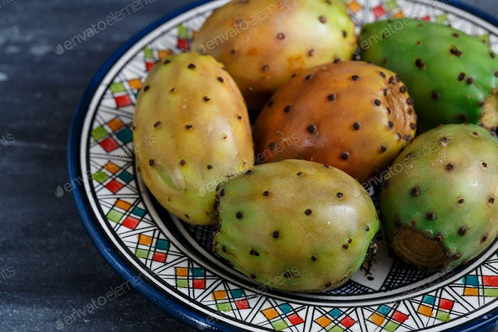 Opuntia or prickly pear on a plate, close view