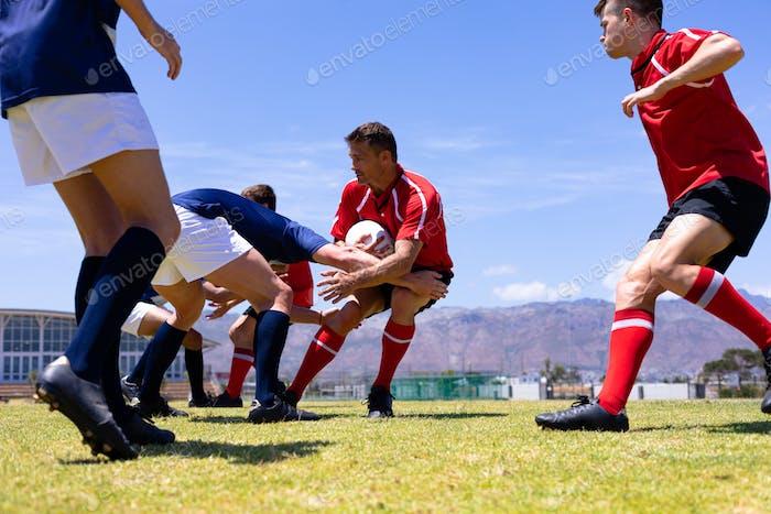 Rugbymen in a match