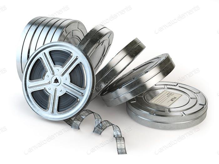 Film reel and boxes. Video, movie, cinema vintage concept.