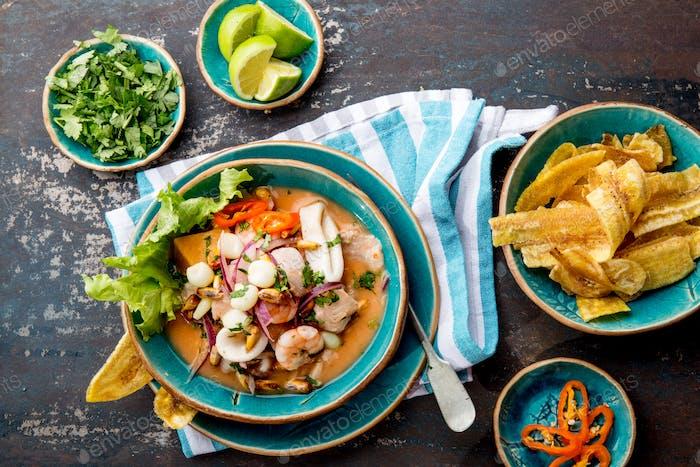 PERUVIAN CEVICHE SEBICHE. Peruvian seafood and fish ceviche with maize.
