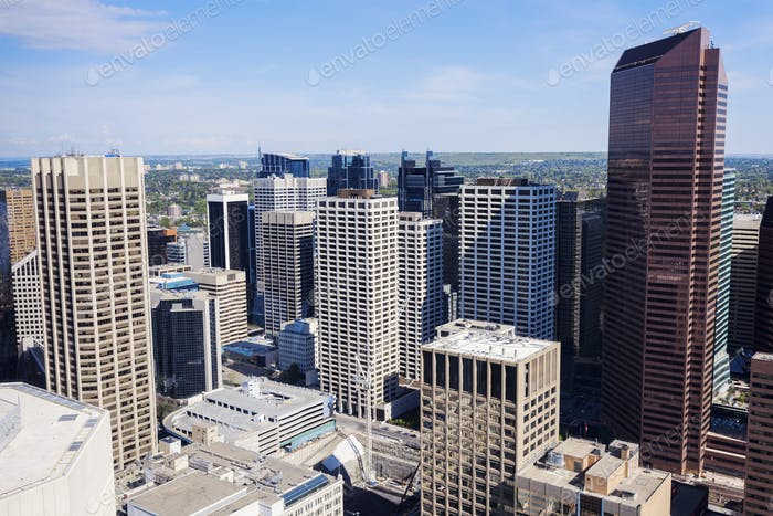 Panorama of modern Calgary skyline