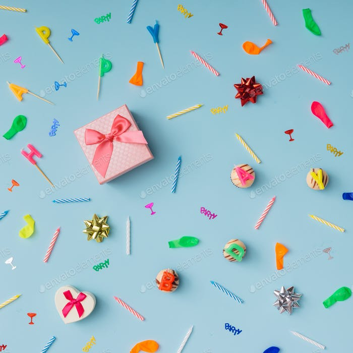 Pattern made of birthday party things.