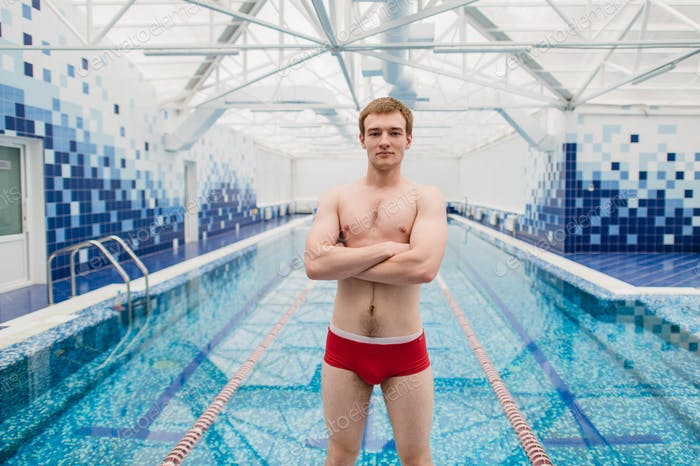 Thumbnail for Portrait of swimmer standing with arms crossed at the leisure center