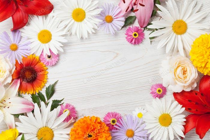 Garden flowers frame
