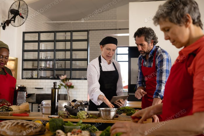 Chefs cooking together