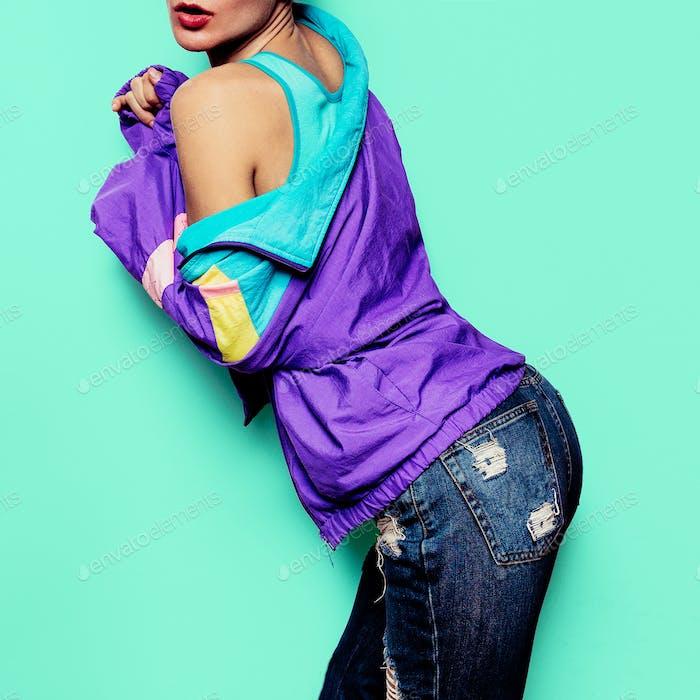 Girl Model Funny Vintage Retro Clothing Windbreaker Urban Style