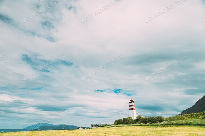 Alnesgard, Godoya, Norway. Old Alnes Lighthouse In Summer Day In Godoy Island Near Alesund Town
