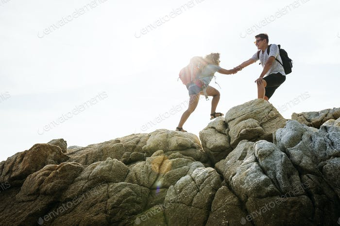 Young couple traveling together