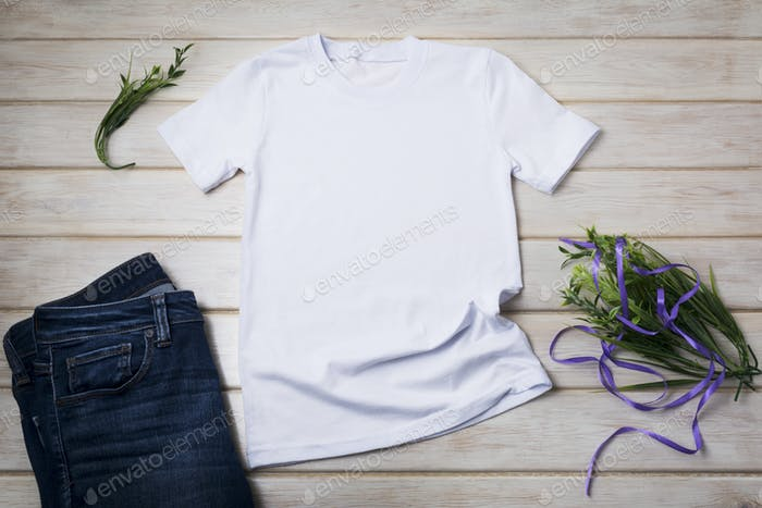 Placeit – Unisex T-shirt mockup with grass and purple ribbon