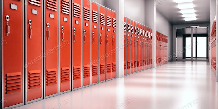 High school lobby with red color lockers, perspective view. Fitness Gym, sports club hallway.