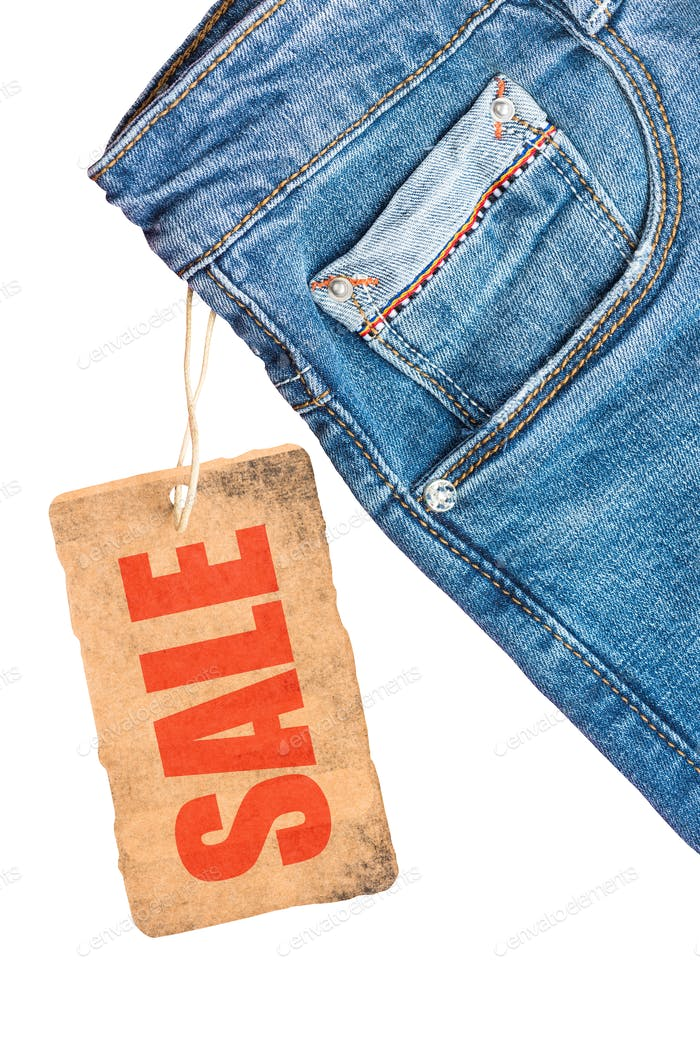 Jeans trousers sale label template mockup