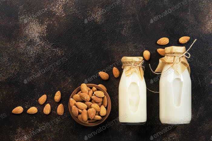 Vegan almond milk in bottles