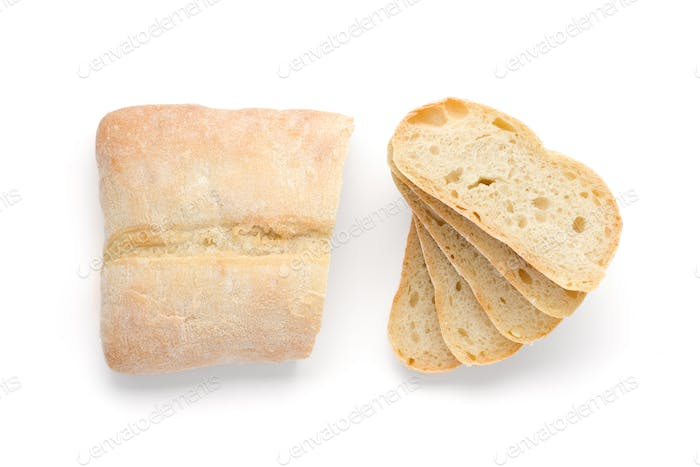 Sliced white bread top view isolated on white bacground