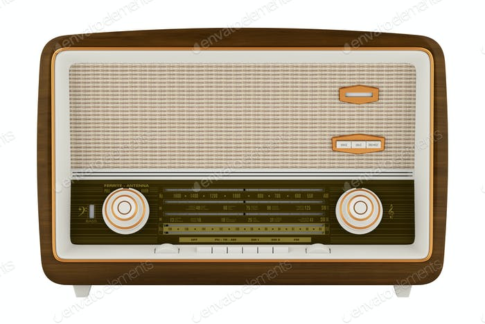 vintage radio isolated on white background. 3d illustration