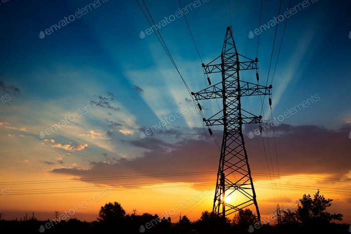 Power lines on a sunrise