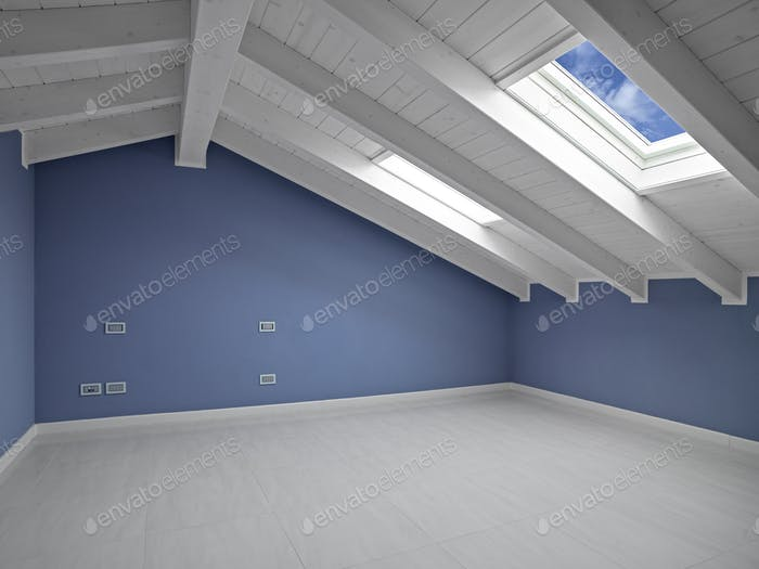 Interior View of an Empty Room in the Attic