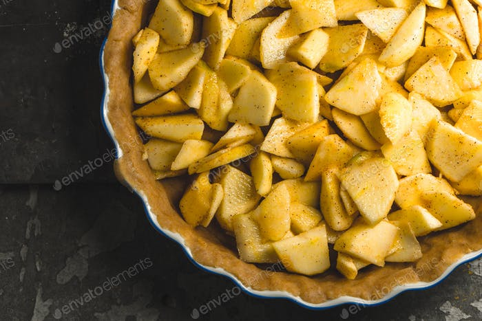 Round American apple pie for baking close-up
