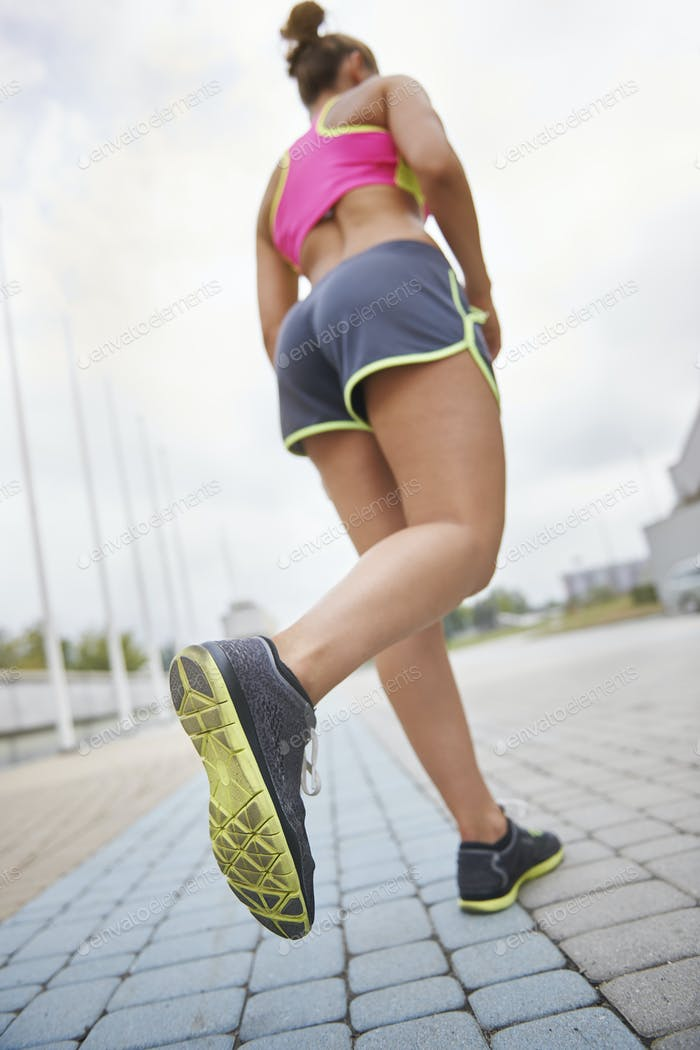 Good shoes and strong legs are needed while jogging
