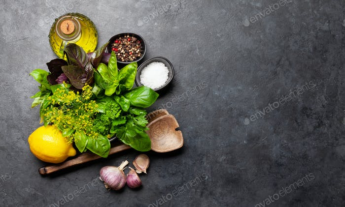 Cuisine ingredients. Various herbs and spices