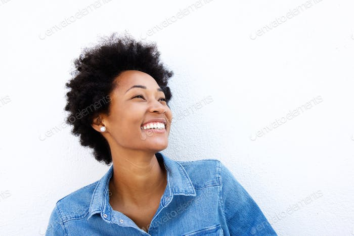 Close up portrait of smiling woman looking up
