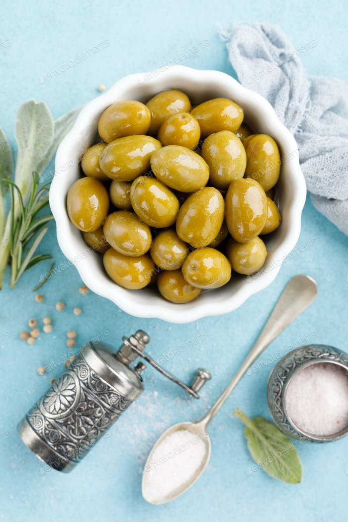 Green olives in a bowl