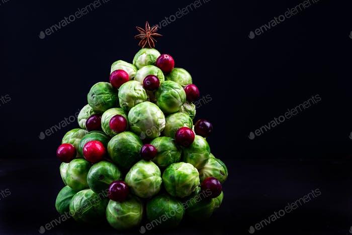 Creative Christmas Tree Made of Brussels Sprouts and Cranberry