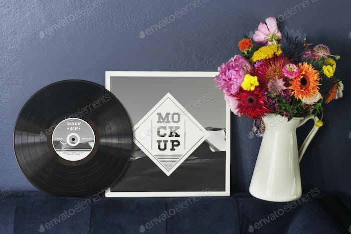Vinyl record album mockup