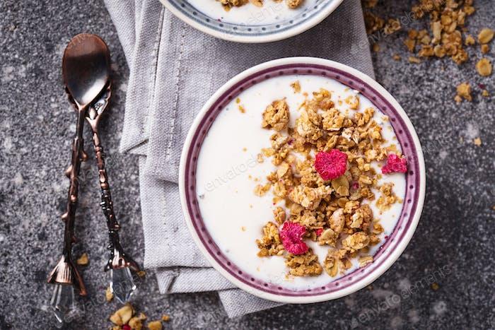 Granola with yogurt and dried raspberries