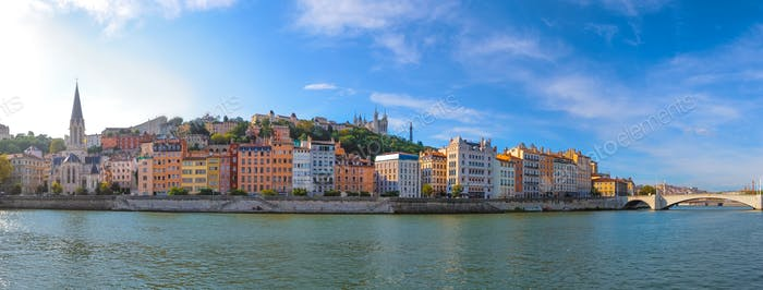 Panoramic view of Lyon skyline during a sunny day, France
