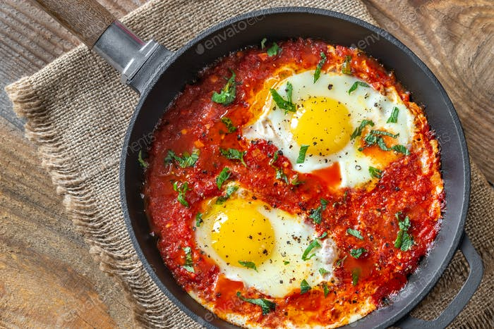 Shakshouka served in a frying pan