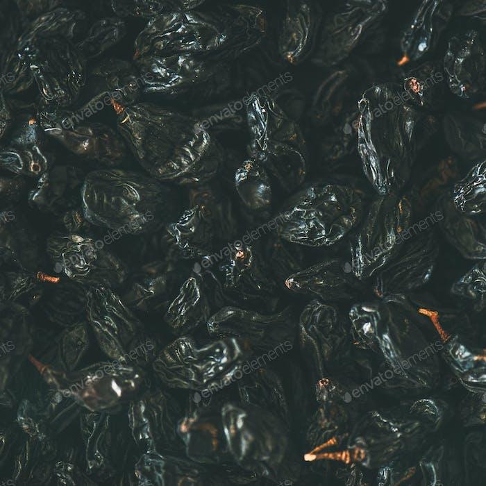 Flat-lay of black dried raisins, top view, square crop