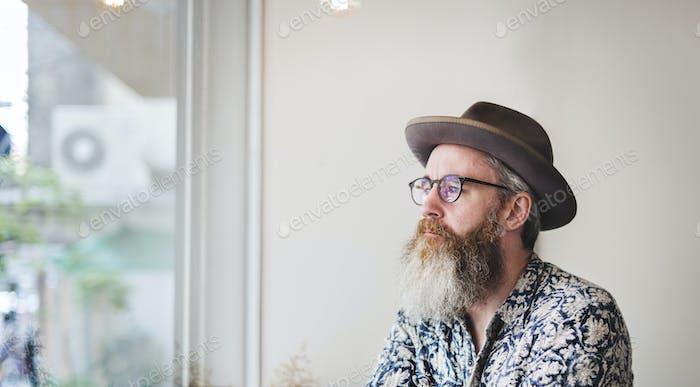 Senior Man Cafe Coffee Shop Planung Denken Konzept
