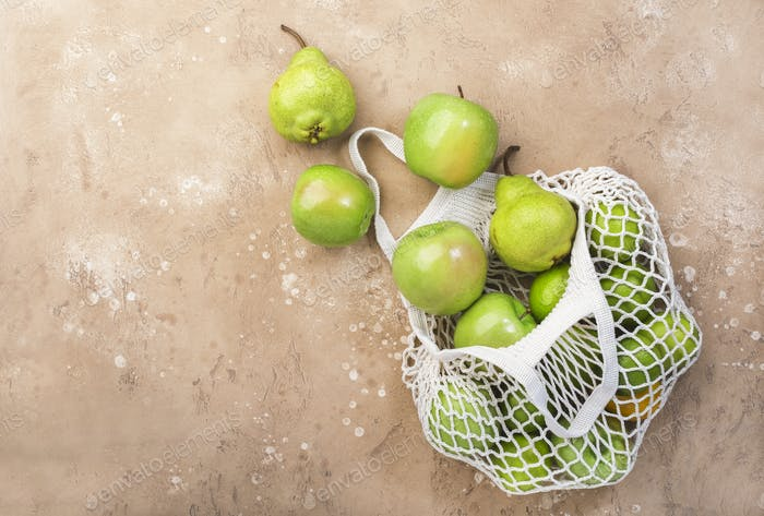 Fruits in reusable eco-friendly string mesh bag