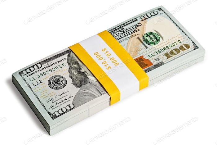 Bundle of 100 US dollars 2013 edition banknotes
