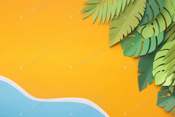 Summer creative wallpaper with tropical resort near the water
