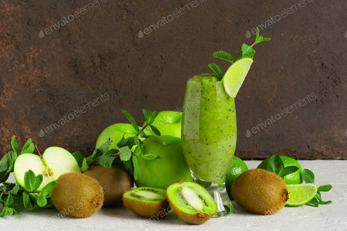 Glass of healthy green smoothie