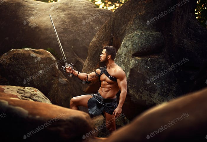 Strong warrior at the woods